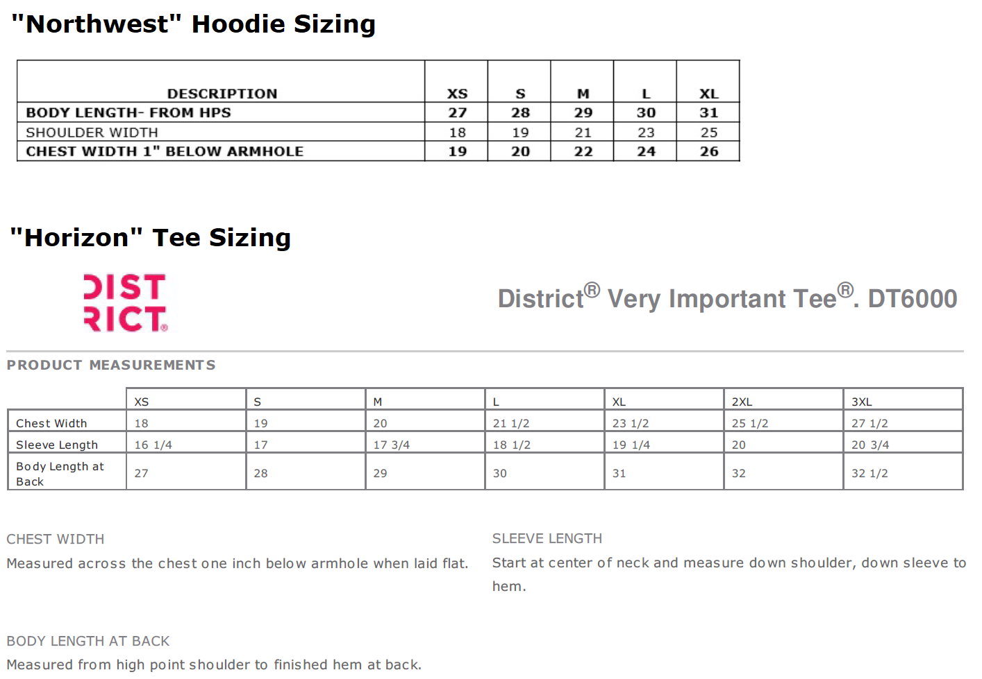 Fall Drive Tee and Hoodie sizing